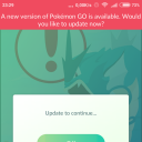 A new version of Pokemon Go is available. Would you like to update now?